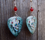 Sugar Skull on Distressed Background Guitar Pick Earrings with Red Crystals