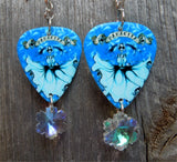 Icy Mamacita Sugar Skull Guitar Pick Earrings with Snowflake Crystals