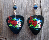 Beautiful Sugar Skull with Red Roses Guitar Pick Earrings with Metallic Blue Swarovski Crystals