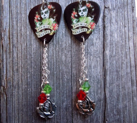Red and Green Sugar Skull Guitar Pick Earrings with Silver Charm and Swarovski Crystal Dangles