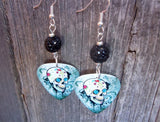 Sugar Skull on Distressed Background Guitar Pick Earrings with Black Pave Bead