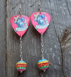 Los Novios Guitar Pick Earrings with a Striped Rhinestone Dangles