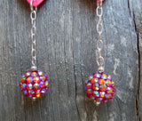 Los Novios Guitar Pick Earrings with a Fuchsia AB Rhinestone Dangles