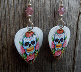 Sugar Skull and Pink Roses Guitar Pick Earrings with Light Pink Crystals