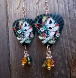 Sugar Skull with Flowered Head Piece Guitar Pick Earrings with Swarovski Crystal Dangles
