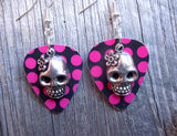 Sugar Skull Charm Guitar Pick Earrings 3D - Pick Your Color