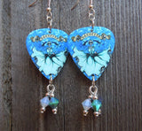 Icy Mamacita Sugar Skull Guitar Pick Earrings with Swarovski Crystal Dangles