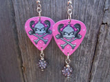 Girl Skull Guitar Pick Earrings with 10mm Gray Pave Beads Dangles