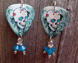 Sugar Skull on Distressed Background Guitar Pick Earrings with Caribbean Blue Swarovski Crystal Dangles