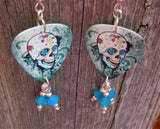 Sugar Skull on Distressed Background Guitar Pick Earrings with Air Opal Crystal Dangles