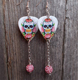 Sugar Skull and Pink Roses Guitar Pick Earrings with Pink Pave Dangles