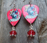 Los Novios Skeleton Guitar Pick Earrings with Crystal Dangles