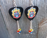 Sugar Skull Surrounded By Candles Guitar Pick Earrings with Swarovski Crystal Dangles