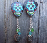 Aqua Blue Sugar Skull Guitar Pick Earrings with Swarovski Crystal Dangles