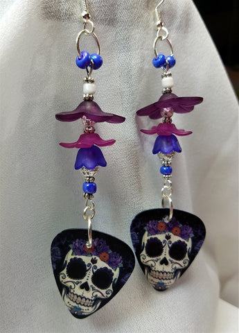 Sugar Skull with a Crown of Flowers Guitar Pick Earrings with Purple Flower Beads