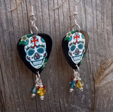 Ornate Sugar Skull with Cross on It's Forehead Guitar Pick Earrings with Swarovski Crystal Dangles