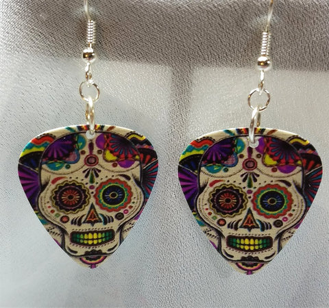 Colorful Sugar Skull Guitar Pick Earrings