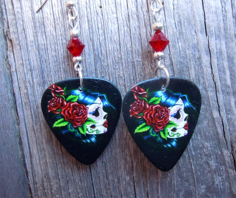 Beautiful Sugar Skull with Red Roses Guitar Pick Earrings with Red Swarovski Crystals