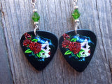 Beautiful Sugar Skull with Red Roses Guitar Pick Earrings with Green Swarovski Crystals