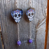 Sugar Skull with Flower Crown Guitar Pick Earrings with Purple Pave Bead Long Dangles