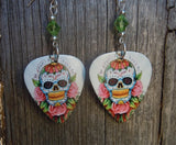 Sugar Skull and Pink Roses Guitar Pick Earrings with Green Swarovski Crystals