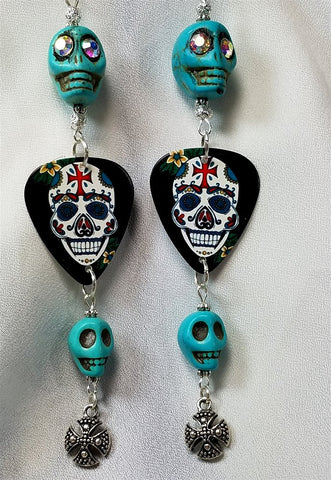 Magnesite Skulls with Ornate Sugar Skull with Cross on It's Forehead Guitar Pick Earrings