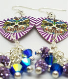Purple White Background Sugar Skull Guitar Pick Earrings with Swarovski Crystal and Pave Bead Dangles