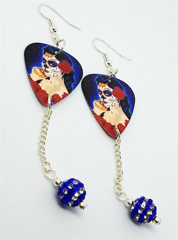 Beautiful Sugar Skull Woman with a Rose In Her Hair Guitar Pick Earrings with Blue Striped Pave Bead Dangles