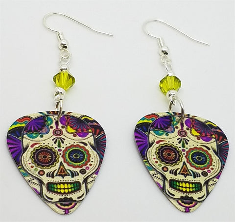 Colorful Sugar Skull Guitar Pick Earrings with Lime Green Swarovski Crystals