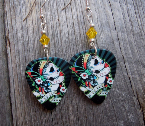 Sugar Skull with Flowered Head Piece Guitar Pick Earrings with Yellow Swarovski Crystals