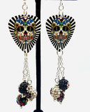 Black and White Background Sugar Skull Guitar Pick Earrings with MultiColor and Flower Pave Dangles