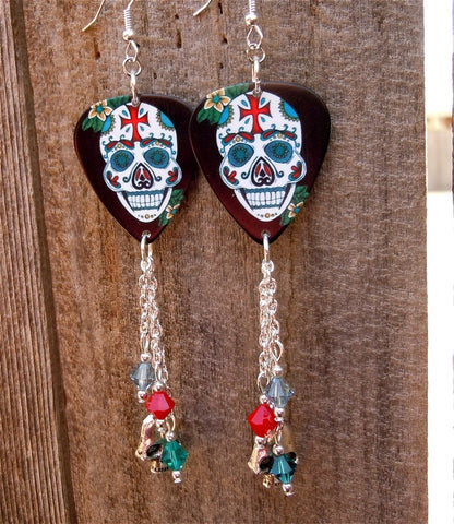 Ornate Sugar Skull with Cross on It's Forehead Guitar Pick Earrings with Skull Charm and Swarovski Crystal Dangles