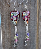 Dia de los Muertos Skeleton and Guitar Earrings with Silver Charm and Swarovski Crystal Dangles