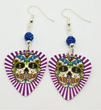 Purple White Background Sugar Skull Guitar Pick Earrings with Capri Blue Pave Beads