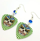 Green and White Background Sugar Skull Guitar Pick Earrings with AB Capri Blue Swarovski Crystals