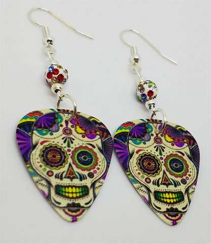 Colorful Sugar Skull Guitar Pick Earrings with MultiColor Pave Beads