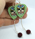 Green and White Background Sugar Skull Guitar Pick Earrings with Deep Red Pave Dangles