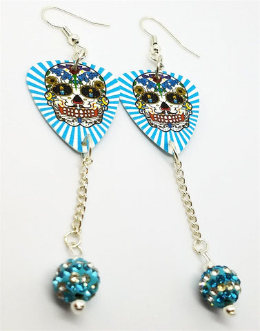 Aqua Blue and White Background Sugar Skull Guitar Pick Earrings with Striped Bead Pave Dangles