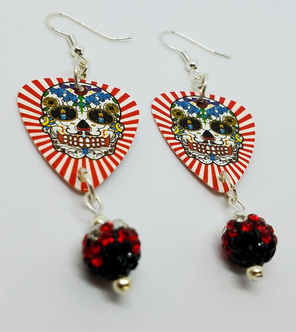 Red and White Background Sugar Skull Guitar Pick Earrings with Red Ombre Pave Bead Dangles