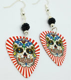 Red and White Background Sugar Skull Guitar Pick Earrings with Black Pave Beads