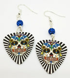 Black and White Background Sugar Skull Guitar Pick Earrings with Capri Blue Pave Beads