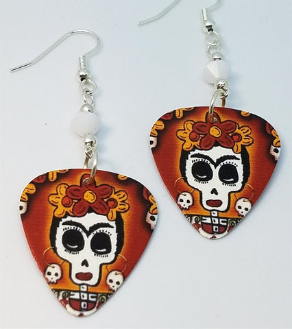 Frida Sugar Skull Guitar Pick Earrings with White Swarovski Crystals