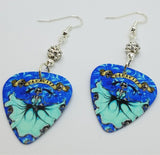 Icy Mamacita Sugar Skull Guitar Pick Earrings with White Pave Beads