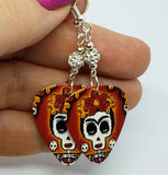 Frida Sugar Skull Guitar Pick Earrings with White Pave Beads