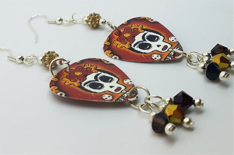 Frida Sugar Skull Guitar Pick Earrings with Pave Beads and Swarovski Crystals