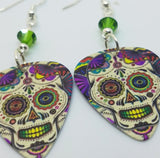 Colorful Sugar Skull Guitar Pick Earrings with Green Swarovski Crystals