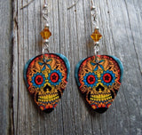 Orange and Blue Sugar Skull Guitar Pick Earrings with Amber Swarovski Crystals