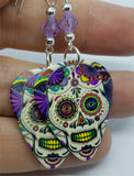 Colorful Sugar Skull Guitar Pick Earrings with Violet Swarovski Crystals