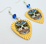 Yellow and White Background Sugar Skull Guitar Pick Earrings with Capri Blue Swarovski Crystals