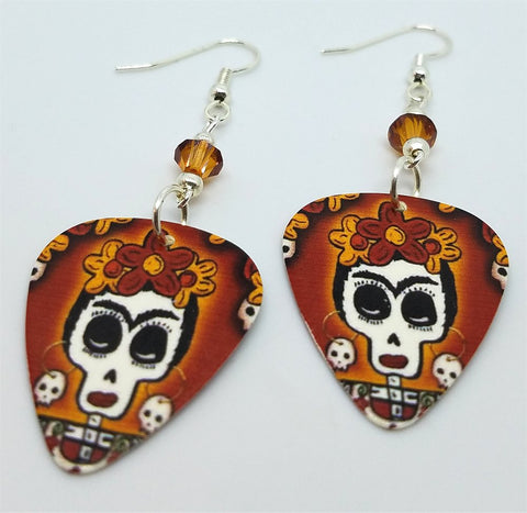 Frida Sugar Skull Guitar Pick Earrings with Copper Swarovski Crystals
